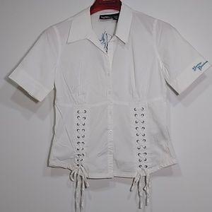 Harley Davidson white button up dress shirt women